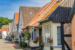 Historic houses in Holm fishing village in Schleswig, Germany