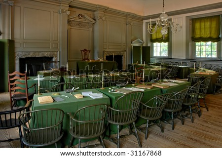 Historic Independence Hall in Philadelphia Pennsylvania as home of the July fourth 1776 signature of the United States Declaration of Independence by the American congress