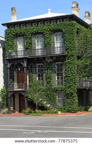 Historic Ivy Covered home in Savannah Georgia
