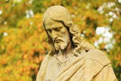 Historic Jesus on the old Prague Cemetery, Czech Republic