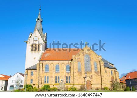Historic John the Baptist Church in Hilter at Teutoburger Wald in Lower Saxony, Germany Zdjęcia stock ©