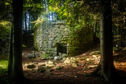 Historic kiln ruins in the forest at Toft Point in Door County, Wisconsin