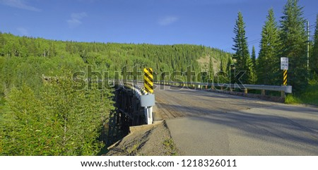 Historic Kiskatinaw Curved Bridge on the world famous Alaska Highway, British Columbia, Canada