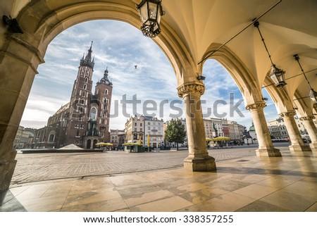 Historic Krakow Market Square in the Morning, Poland #338357255