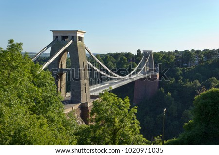 Historic landmark of The Clifton Suspension Bridge in the Clifton area of the City of Bristol, UK #1020971035