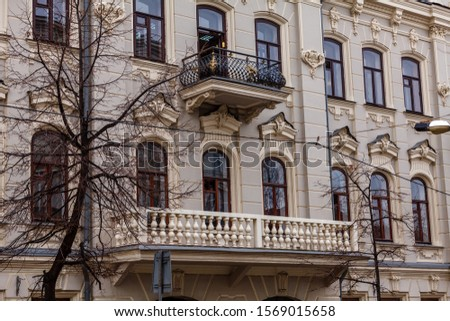 Historic mansions with beautiful architecture columns and bas-reliefs #1569015658