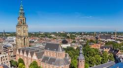 Historic Martini church tower dominating the skyline of Groningen, Netherlands