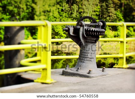 Historic mechanism /100 years old/ on a dam in Pilichowice, Poland
