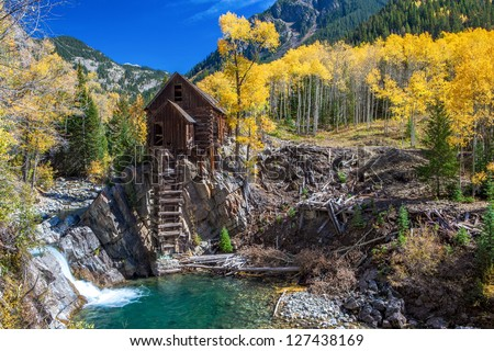 Historic mill in autumn, Crystal Ghost Town, Colorado