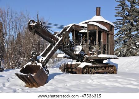 Historic Mining Steam Shovel in Alaska - stock photo