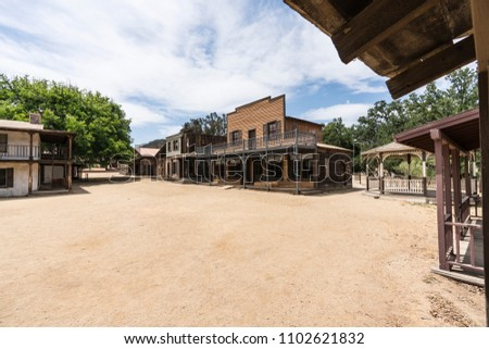 Historic movie set buildings owned by US National Park Service at Paramount Ranch in the Santa Monica Mountains National Recreation Area near Los Angeles California.