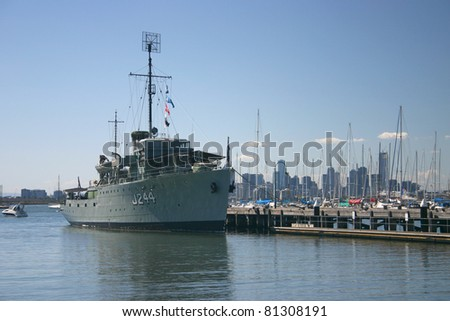 Historic navy ship rests in port of Melbourne, Australia