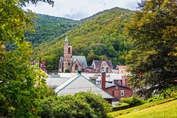 Historic old buildings and the scenic landscape of Jim Thorpe Pennsylvania.