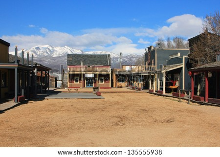 Historic old town buildings in Heber City, Utah, USA.