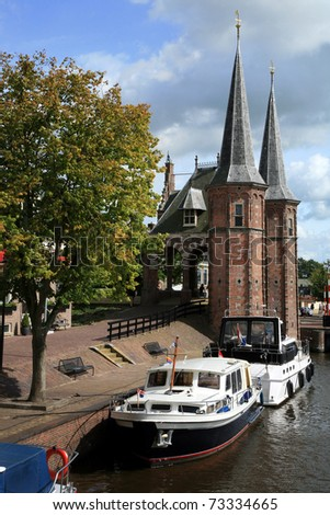 Historic old town in the Netherlands - Sneek. Friesland province. Watergate