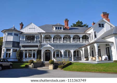 Historic Otahuna Lodge, built in 1895 for Sir Heaton Rhodes and now converted into into one of New Zealand's finest luxury hotels. One of the best examples of Queen Anne architecture in Australasia.