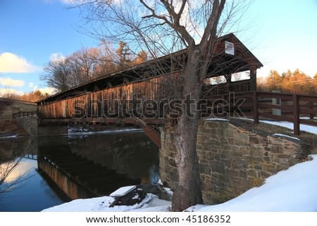 Historic Perrines covered bridge (ca. 1844) over the Wallkill River near New Paltz,  New York