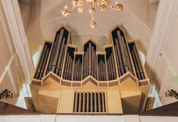 historic pipe organ at a church. Appearance