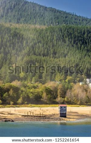 Historic pumphouse of the former Treadwell Mine. Douglas Island, Juneau, Alaska.