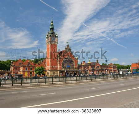Historic railway station in Gdansk, Poland.