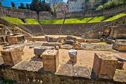 Historic Roman Theatre of Trieste ruins view, Friuli Venezia Giulia region of Italy