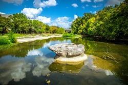 Historic Round Rock at Bushy Creek, namesake of the City of Round Round, Texas, USA
