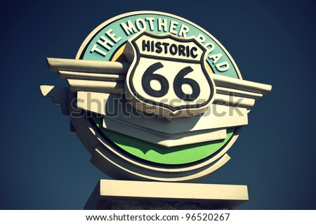 historic route 66 sign in the...