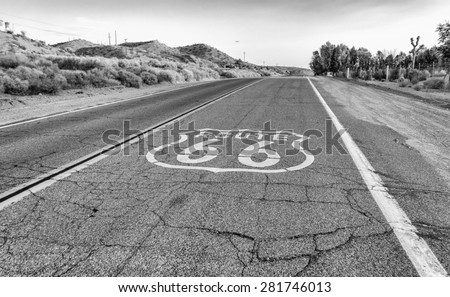 historic route 66 with pavement ...