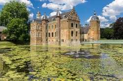 Historic Ruurlo castle surrounded by water in The Netherlands