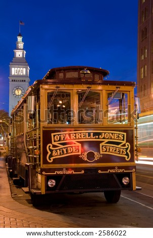 Historic San Francisco Cable Car (motorized) with Ferry Building