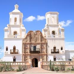 Historic San Xavier del Bac mission in Tucson, Arizona, USA