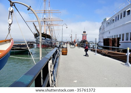 Historic schooner docked at Hyde Street Pier in San Francisco. Area is operated by US National Park service.