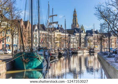 Historic ships in the Hoge der aa canal of Groningen, The Netherlands #1247353027