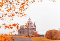 Historic site of wooden churches of Kizhi Island, Republic of Karelia, Russia. The museum of wooden architecture. Colorful autumn landscape.