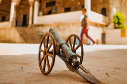 Historic Small Cannon Cart in the Courtyard
