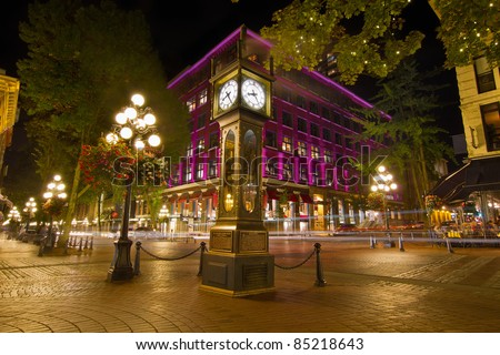 Historic Steam Clock in Gastown Vancouver British Columbia Canada at Night