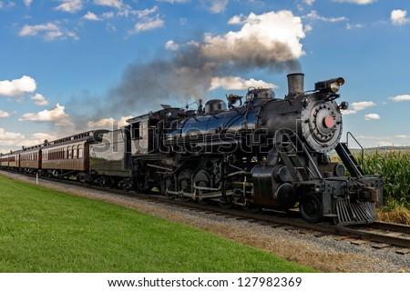 historic steam train passes...