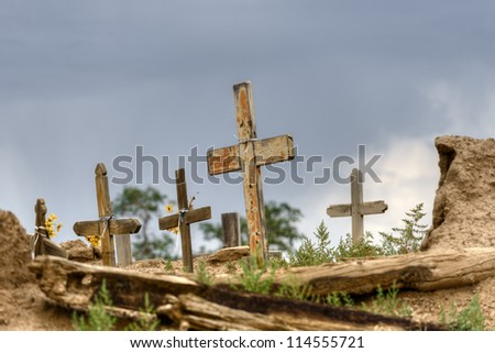 Historic Taos pueblo cemetery, New Mexico.