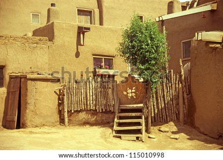Historic Taos Pueblo - old buildings. This is the oldest city in the United States. New Mexico, USA, World Heritage Site by UNESCO