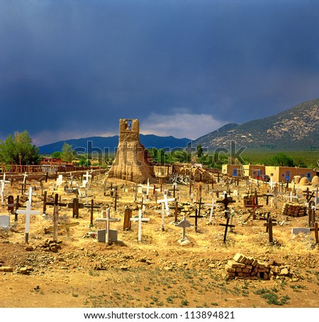 Historic Taos Pueblo - old cemetery. This is the oldest city in the United States. New Mexico, USA, World Heritage Site by UNESCO