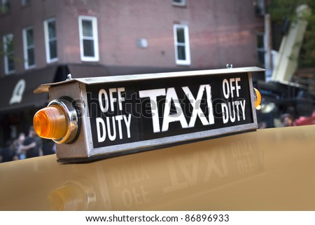 Historic taxi sign of New York
