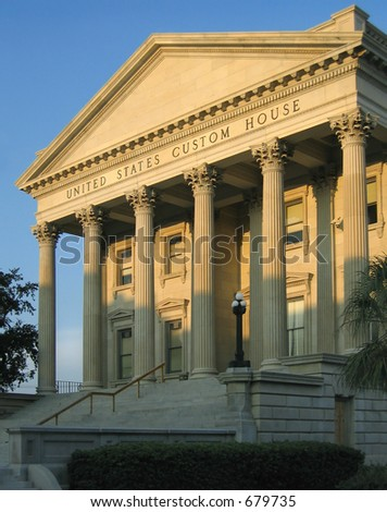 Historic 19th century United States Custom House in Charleston, South Carolina; built 1853 to 1879