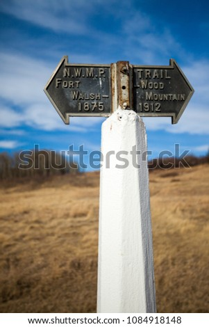 historic trail marker at the...