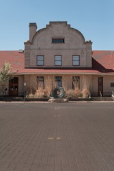 historic train depot station downtown yakima washington along old cobbled brick road near the larson building