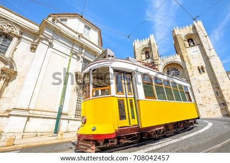 historic tram line in front of...