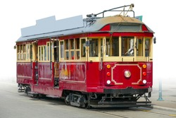 Historic tramway tram seen in Christchurch in New Zealand, gradient isolated in white back