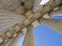 Historic US supreme court building columns in Washington DC.