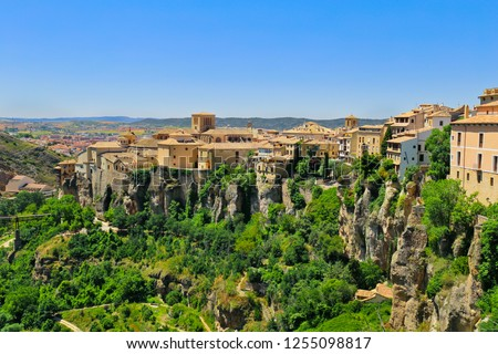 Historic Walled Town of Cuenca - Spain. This view shows the Hanging Houses perched on the cliffside.