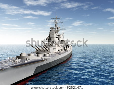 Historic Warship Computer generated 3D illustration