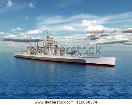 Historic Warship King George Computer generated 3D illustration